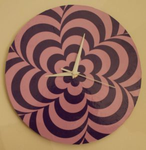 Mod 60s Optical Illusion Psychedelic Clock to Make on Cricut Maker