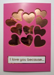 Pink and Rose Gold Heart Shaped Balloons Valentine's Card - Front