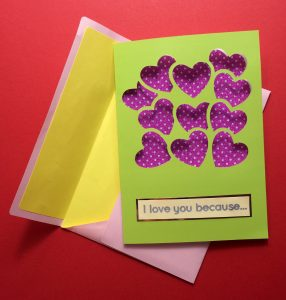 Green Valentine Card with Balloons