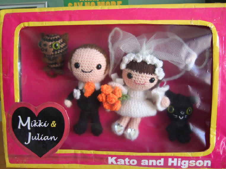Crocheted wedding couple