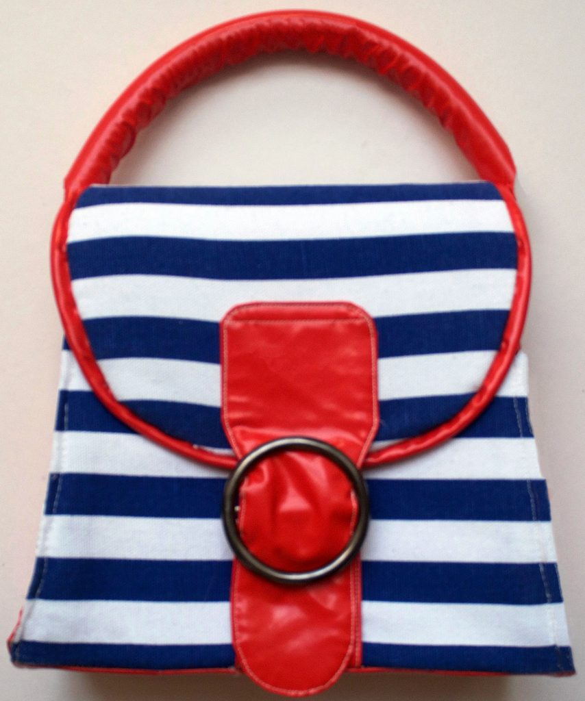 Red Navy Blue and White Striped and Vinyl 60s Style Bag Pattern