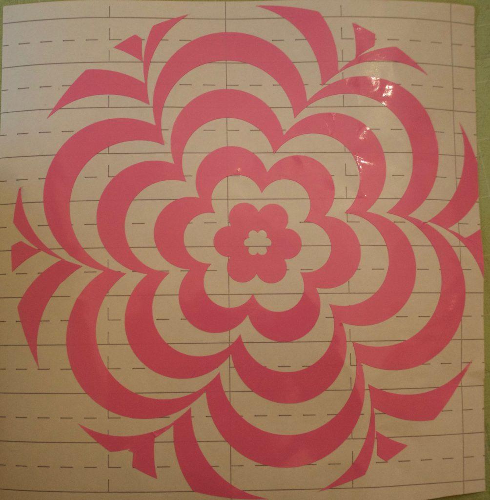 Pink floral op-art clock vinyl