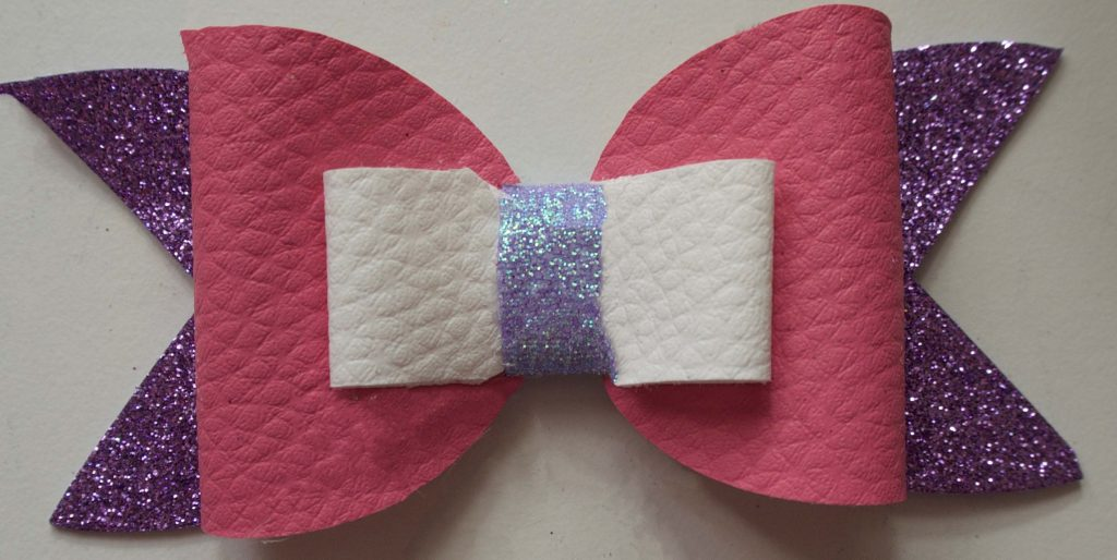 Pink purple lilac and white iridescent glitter bow