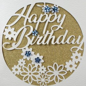 White Cricut Cut Birthday Card with Glitter Gold and Gems