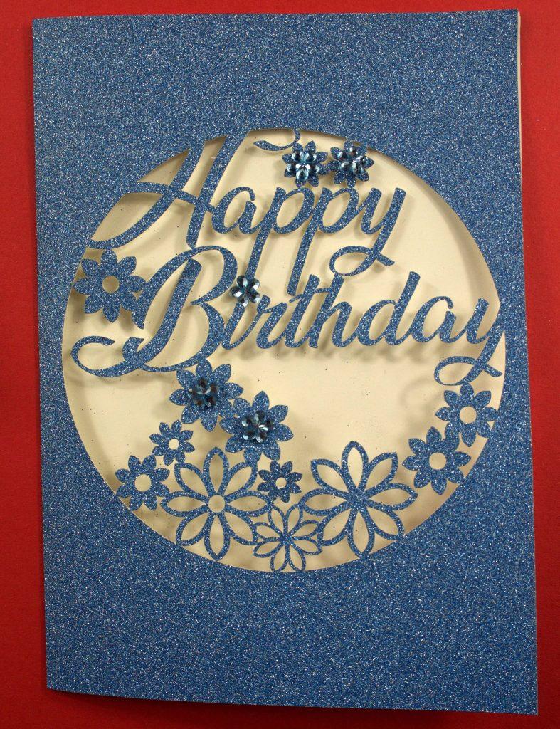 Blue Glitter Intricate Cut Cricut Birthday Card