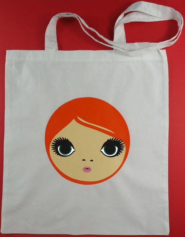 Finished tote bag with red headed Mod girl face