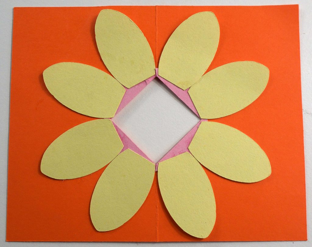 Attaching petals to pop-up flower card
