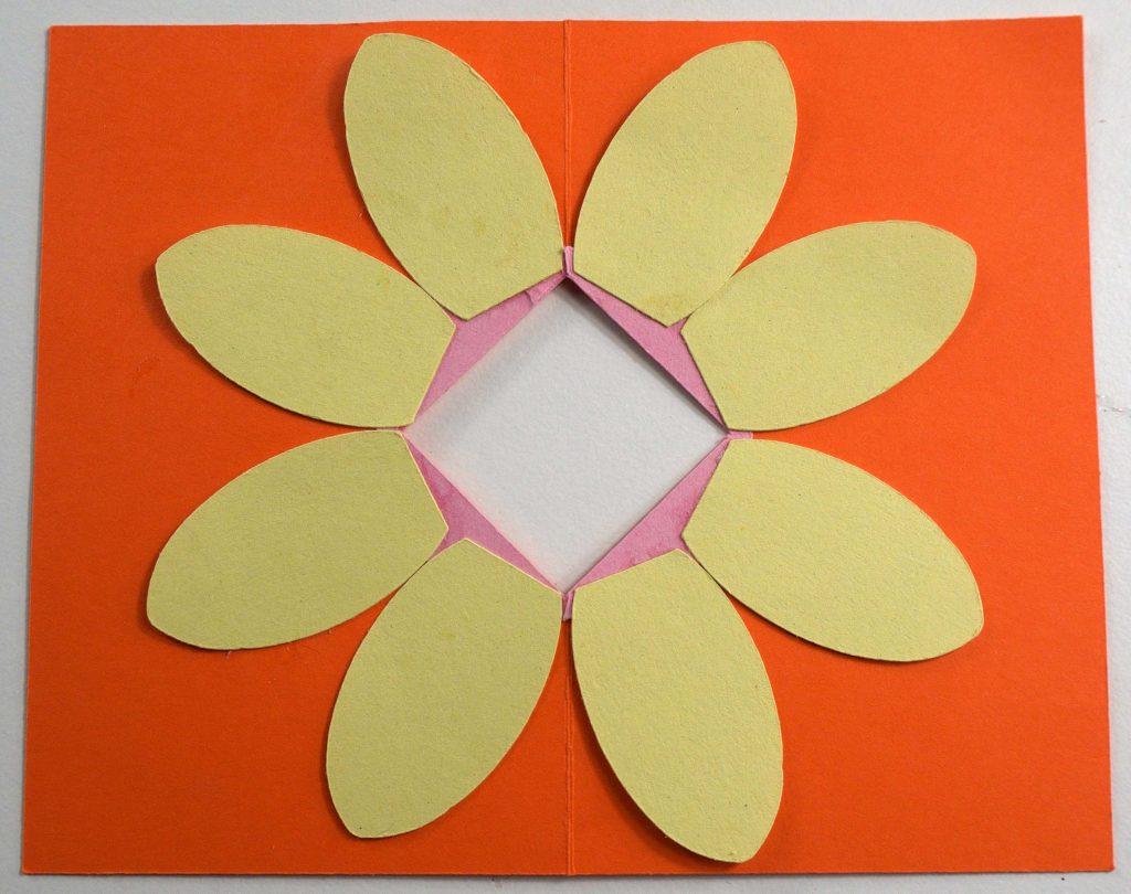Attaching petals to pop-up flower card