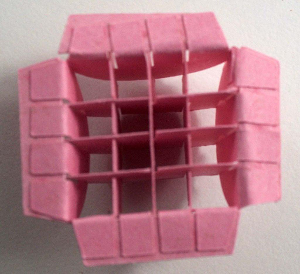 Bending over edges of pop up piece