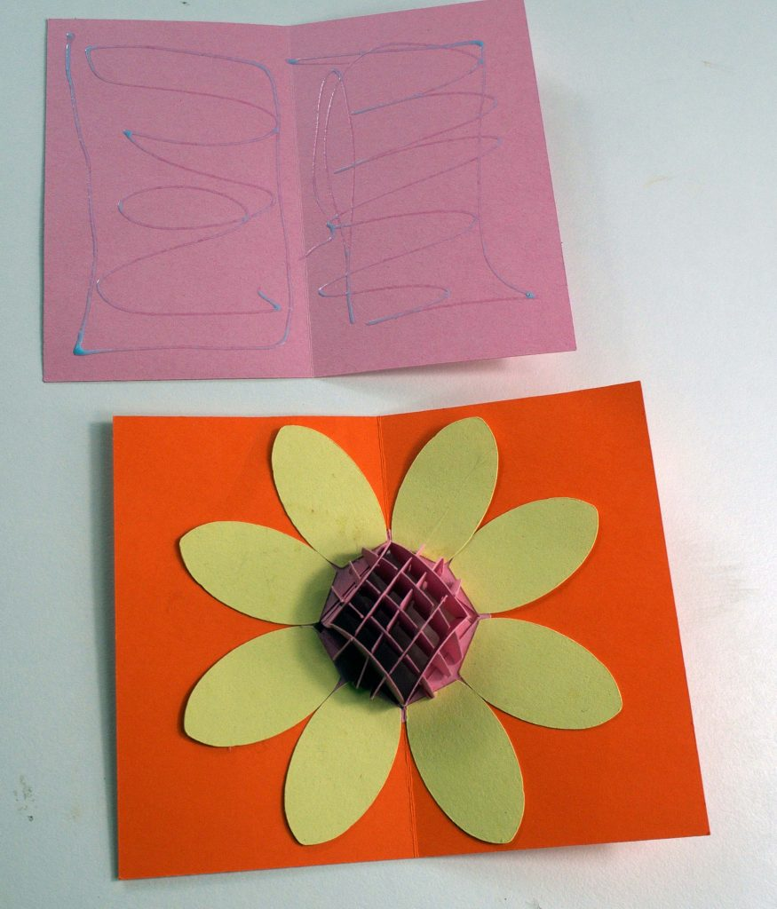 Putting together the pop-up flower thank you card