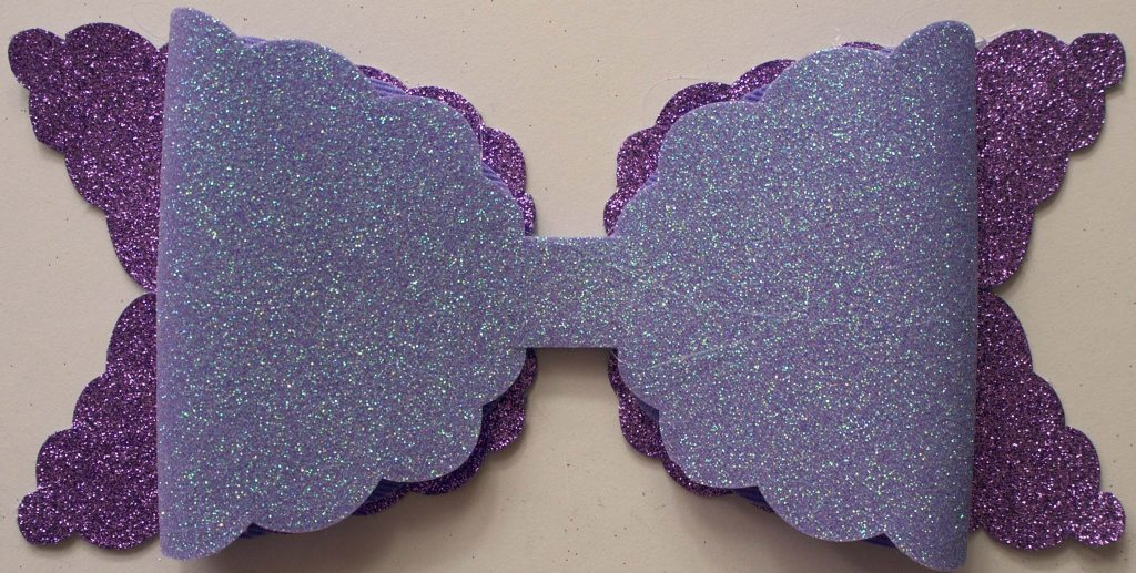Lilac and Purple Glitter Bow being Assembled