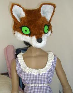 Fox Head on Gingham Dress