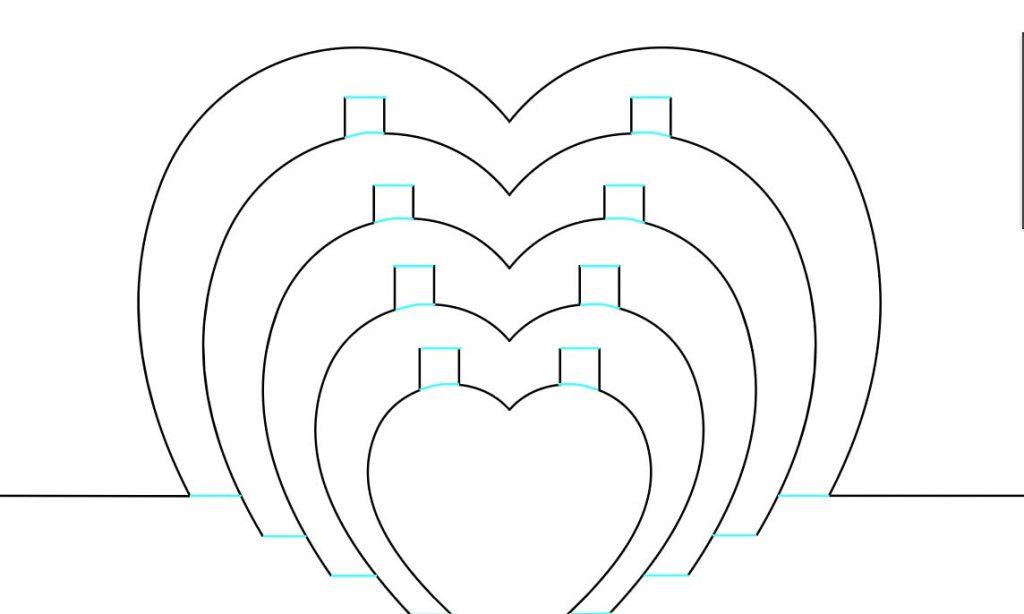 Score lines on Cricut hearts card