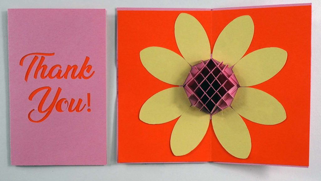 popup flower thank you card file for the cricut or