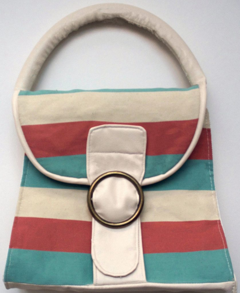 Teracotta, Green and Beige Striped 60s Style Bag Cricut Pattern