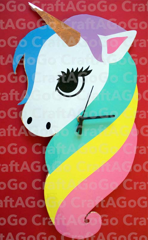 Watermarked Rainbow Unicorn Clock
