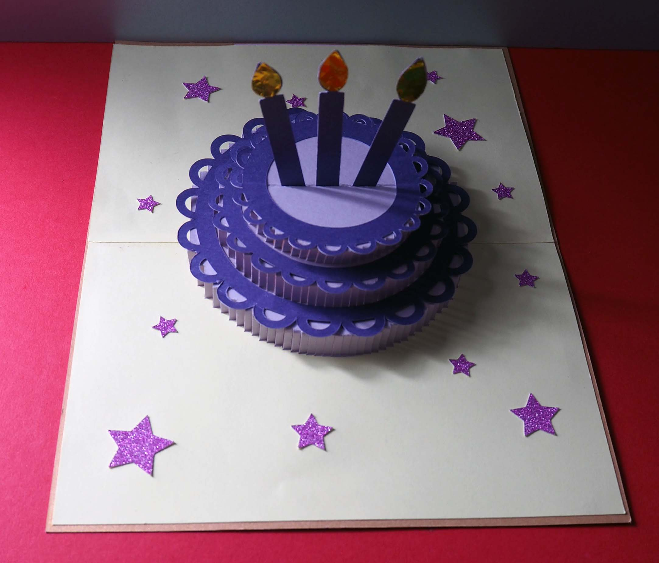 Pop-up three-tier cake birthday card