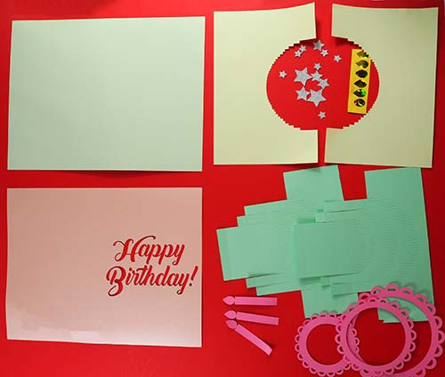 Pieces for pop-up cake card