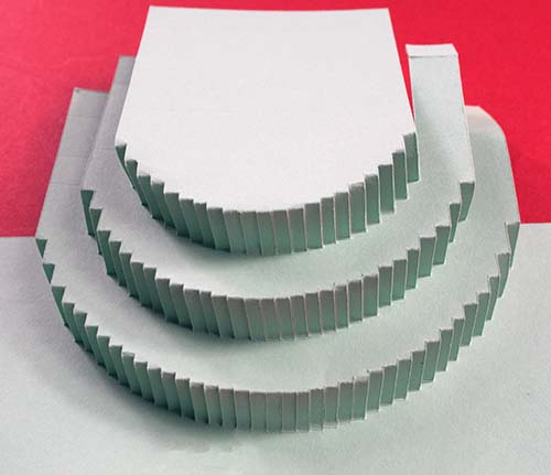 Folded out 3D pop-up cake card