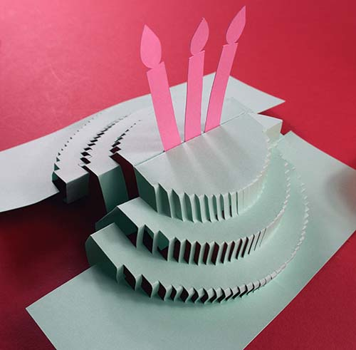 Putting two sides of pop-up cake together