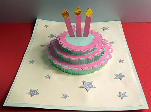 Assembled pop-up cake card with stars