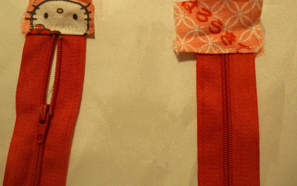 Applying ends to zips on Cricut bag
