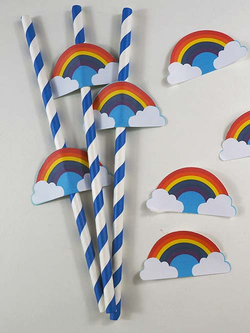 Rainbow Straw Toppers and Stickers Made on Cricut