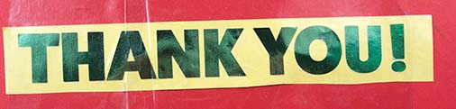 "'Thank You!"" on holographic adhesive paper"