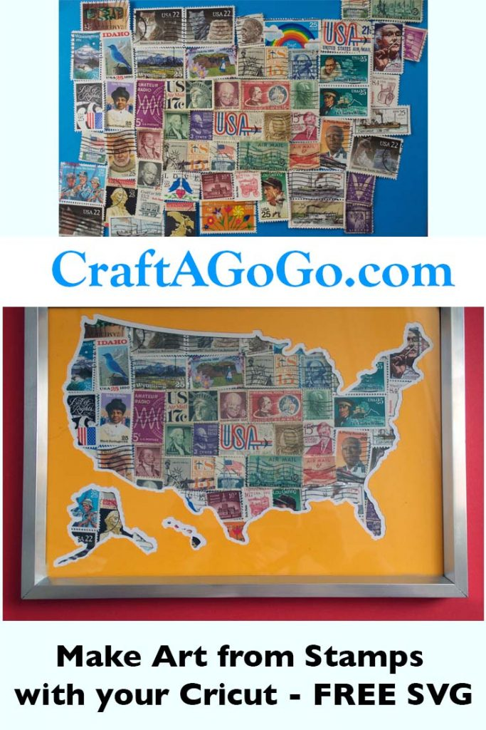 Making a USA Map Art Print from Stamps FREE Cut Files