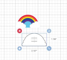 Attaching a rainbow in the Cricut
