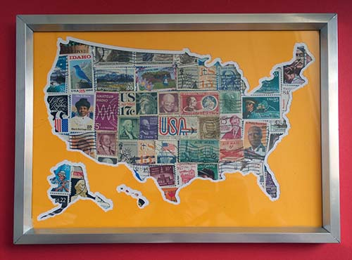 USA Map with Stamps Behind Cricut Project with FREE SVG