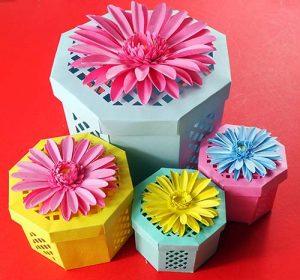 Floral gift boxes free SVG Cricut File