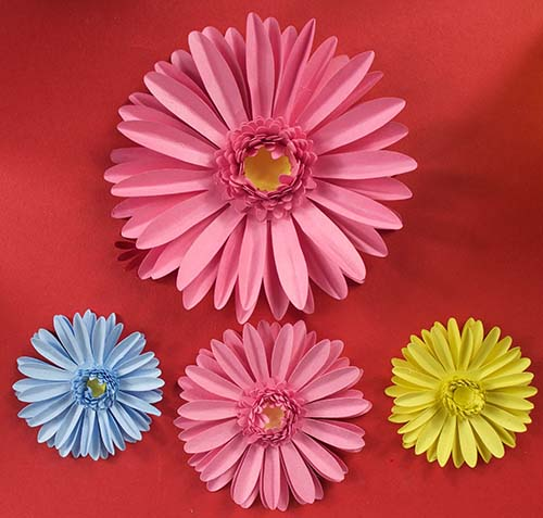 Paper gerberas in pastel colours free SVG for Cricut