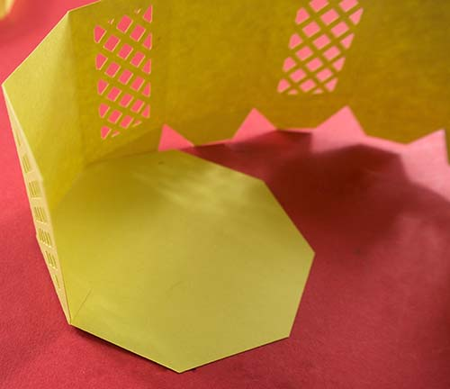 Edges of octagonal box glued on Cricut free SVG