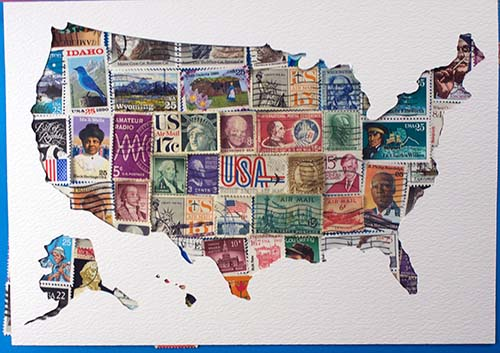 USA Stamps with map frame overlay