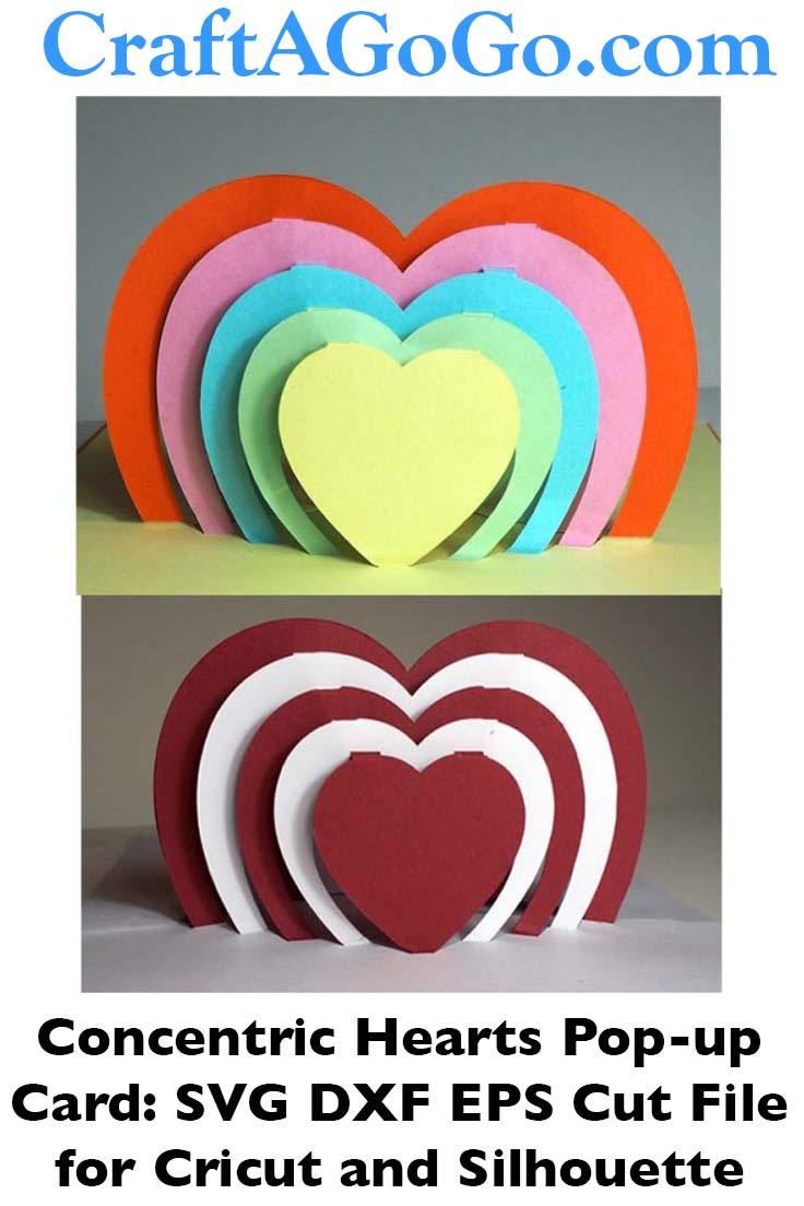 Pop-up Card with Concentric Hearts: Cut File for Cricut or ...