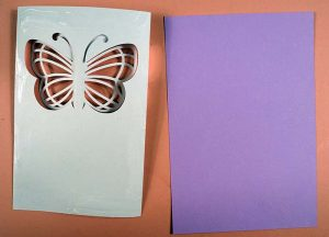 Gluing back of butterfly card - SVG
