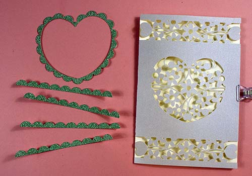 Pieces to make SVG Hearts Card for Cricut