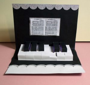 pop up piano keyboard card