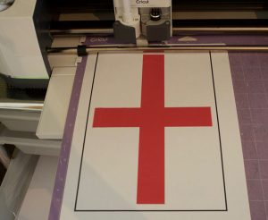 Cutting out England Flag Bunting