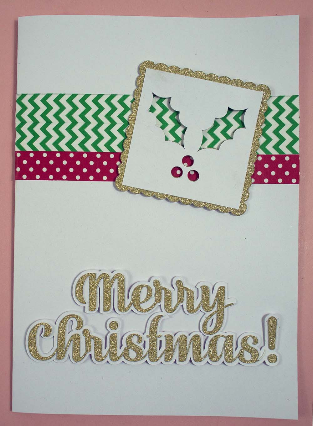Merry Christmas Holly Card Cricut