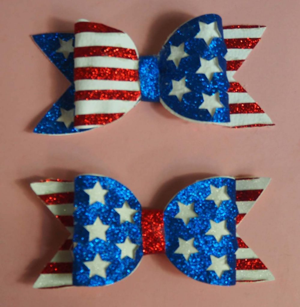 USA Stars and Stripes Glitter Hair Bow Cut File