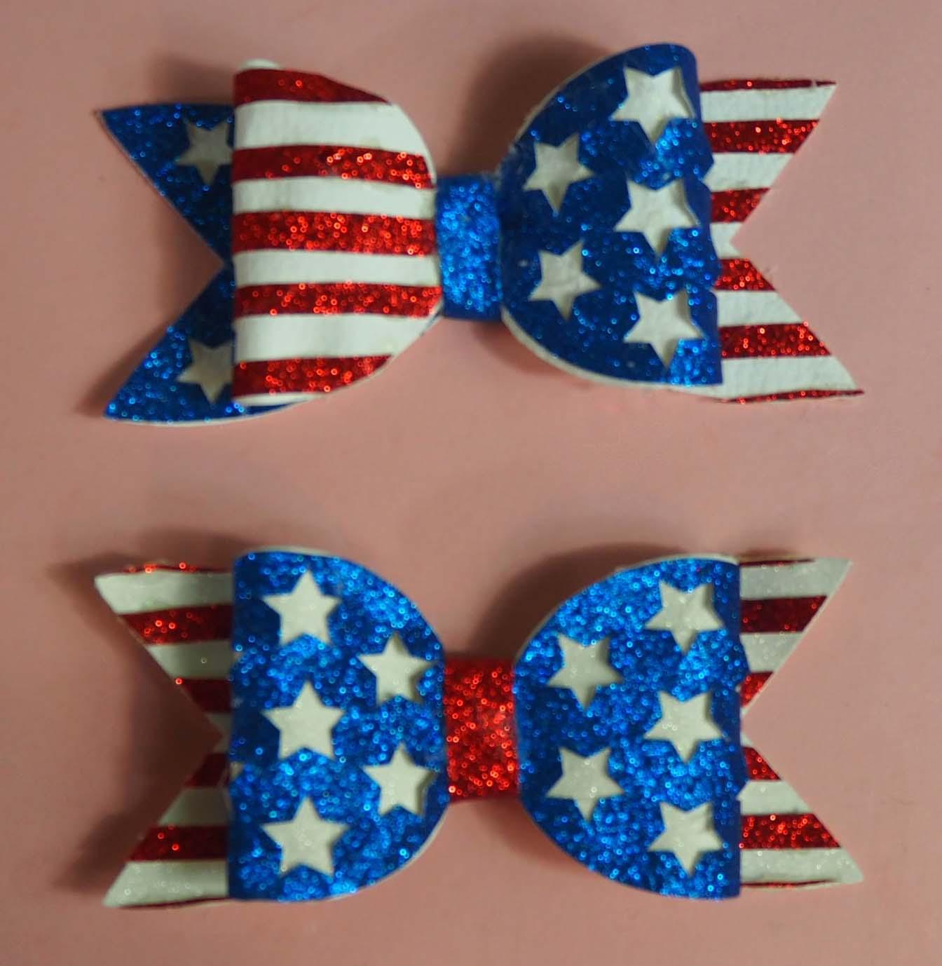 USA Stars and Stripes Glitter Hair Bow Cut File