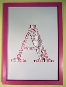 Initial A Framed Cricut Paper Cut Art
