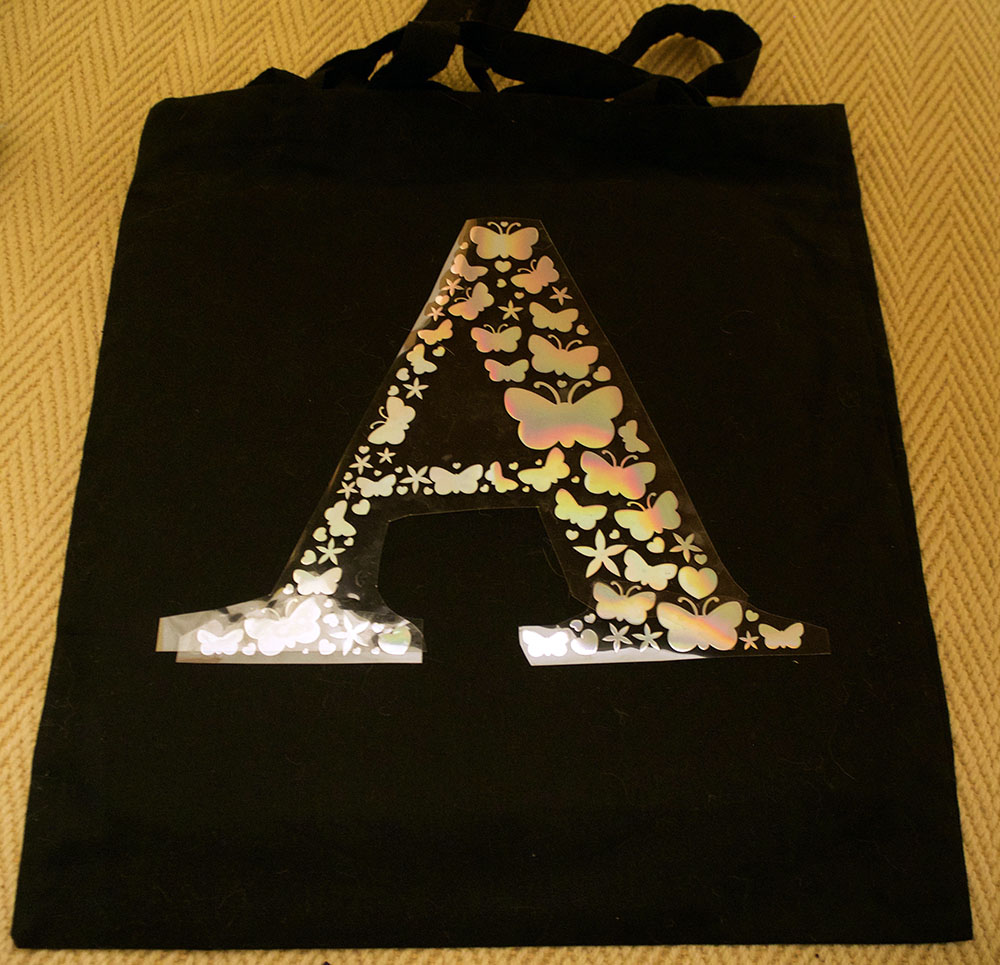 Holographic htv initial design on tote bag