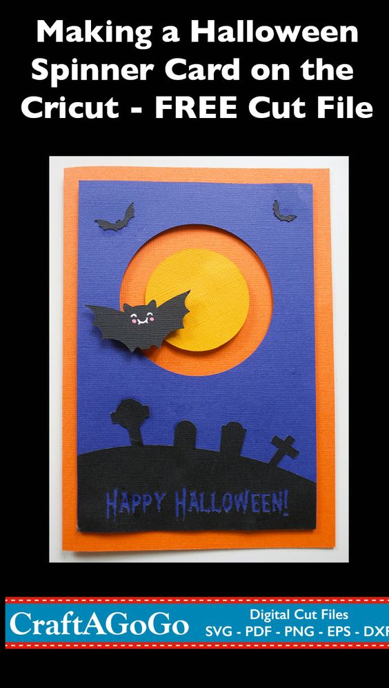 Halloween Card Cricut SVG Cut File Bat Spinner