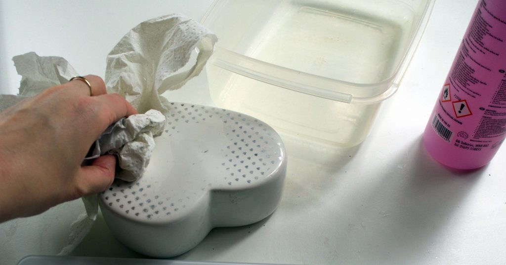 acetone removes design from ceramics