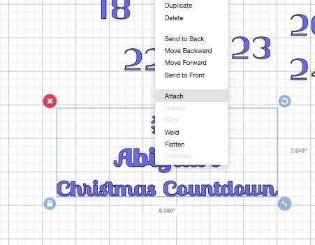 Advent Calendar vinyl message Cricut