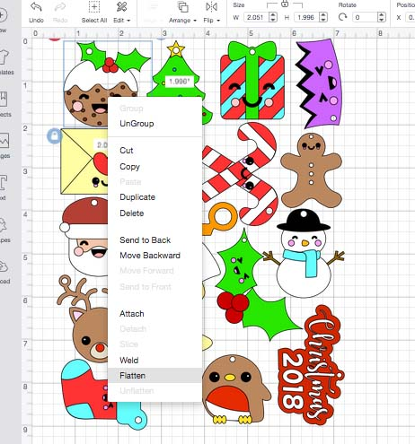 Flattening Christmas Charm Images Cricut