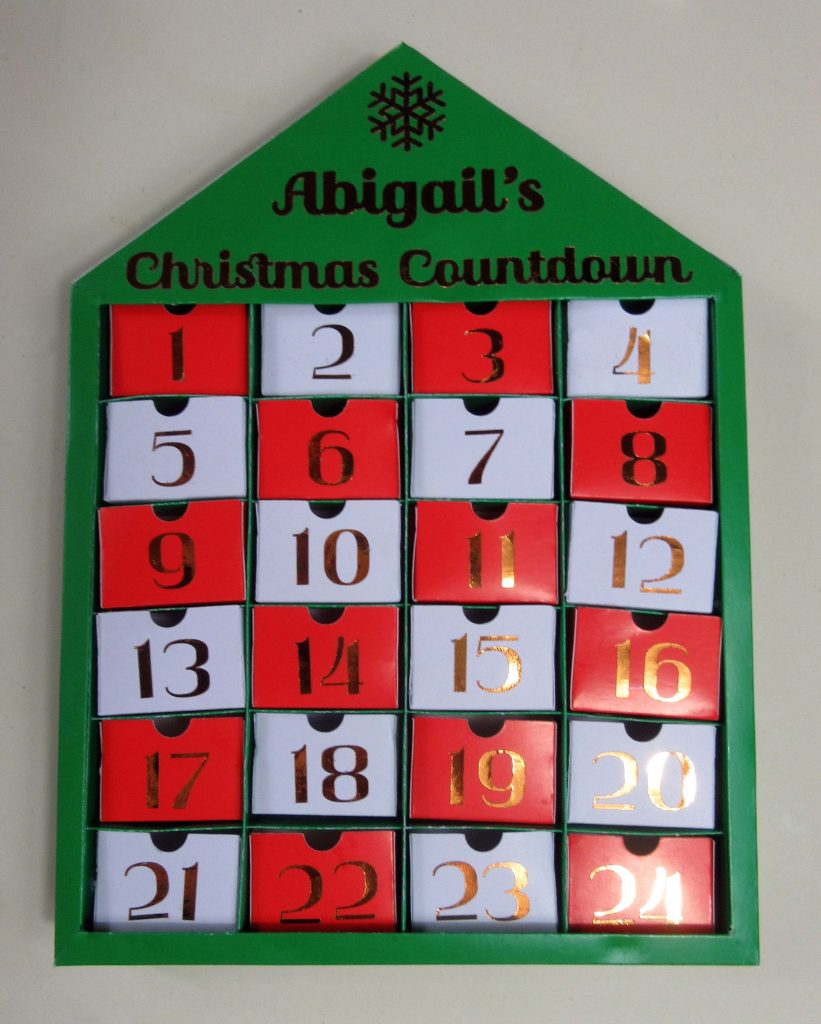 personalised advent calendar cricut